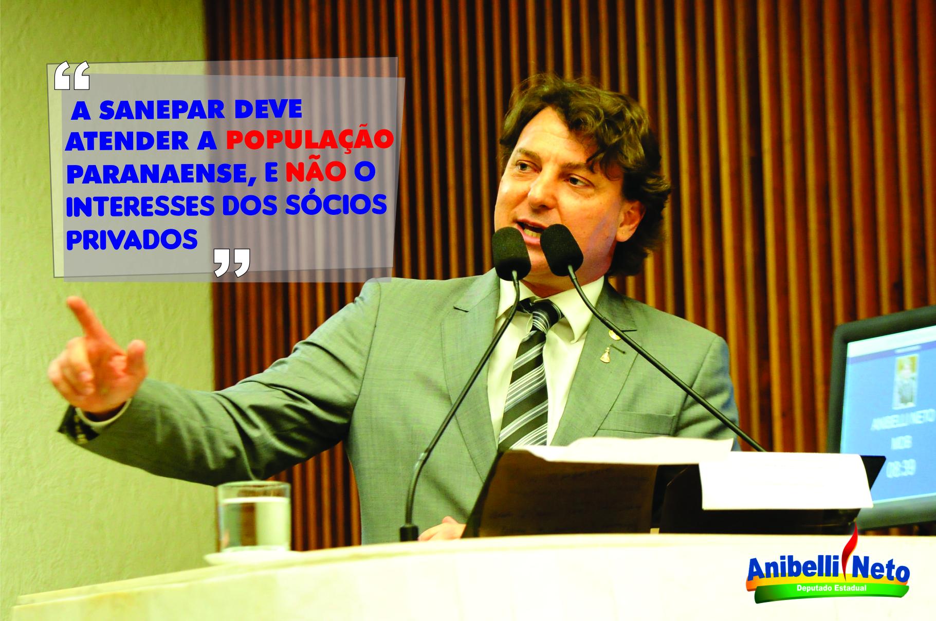 Anibelli afirma que reajustes da Sanepar são reflexos de política voltada aos interesses dos acionistas