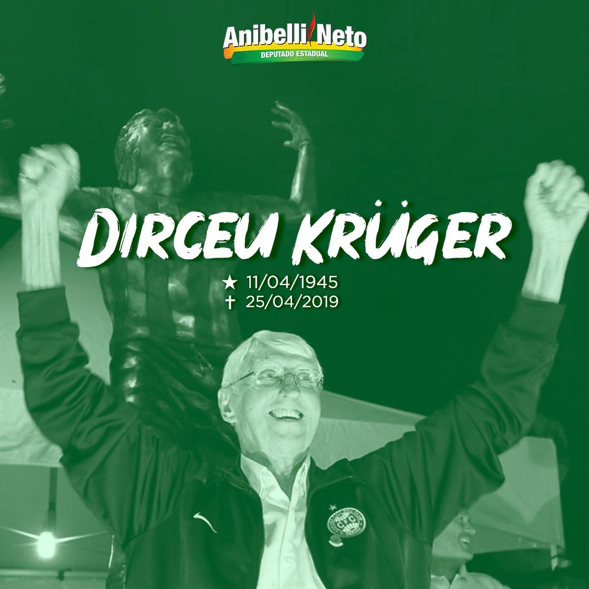 Anibelli Neto lamenta o falecimento de Krüger.