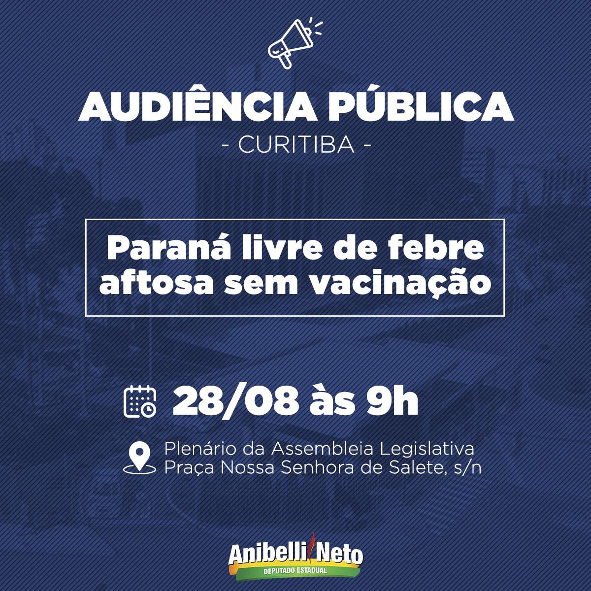 Audiência pública vai debater o Paraná livre da aftosa sem vacinação