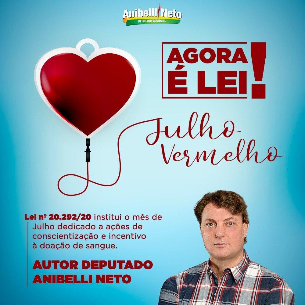 Julho Vermelho: proposta de Anibelli Neto agora é lei