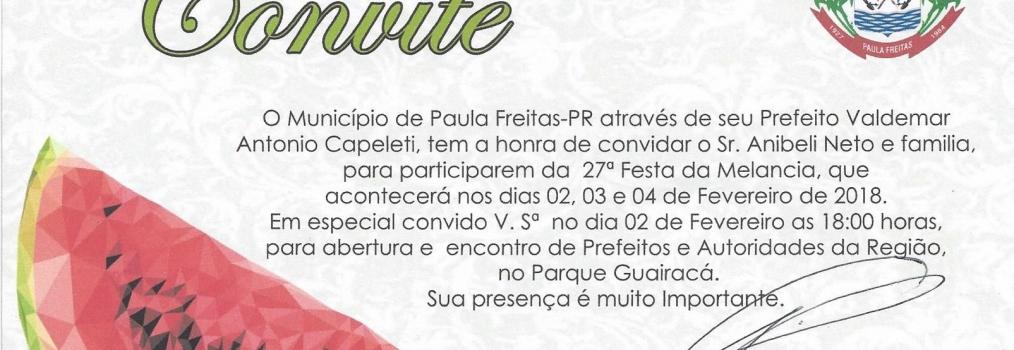 27ª Festa da Melancia na Cidade de Paula Freitas.